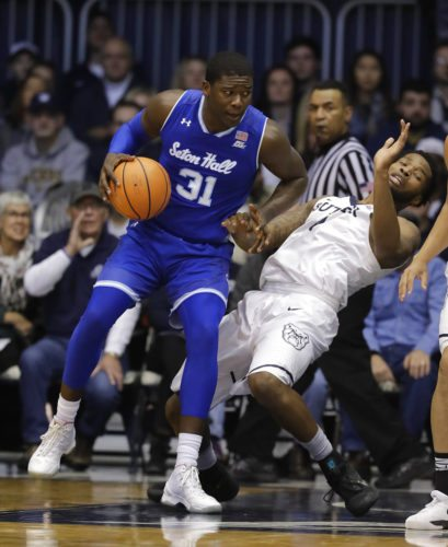 Seton Hall's Angel Delgado is defended by Butler's Tyler Wideman during the first half of a game Saturday in Indianapolis. (By The Associated Press)