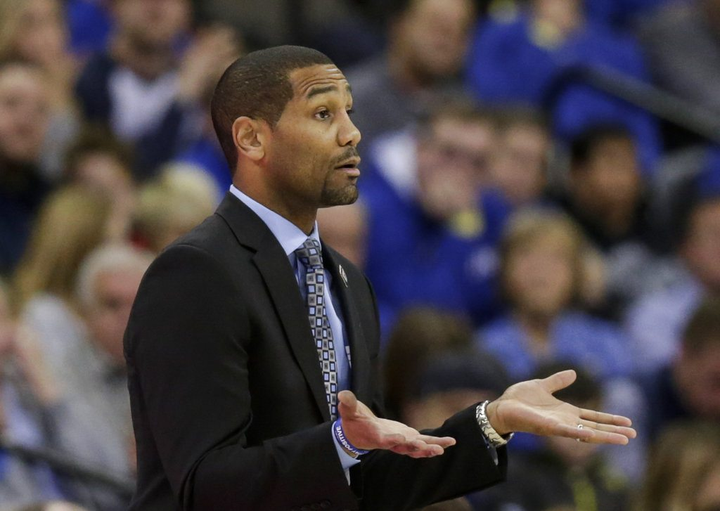 Butler university men's basketball coach LaVall Jordan gestures during the first half of the Bulldogs' game against Creighton in Omaha Tuesday. (By The Associated Press)