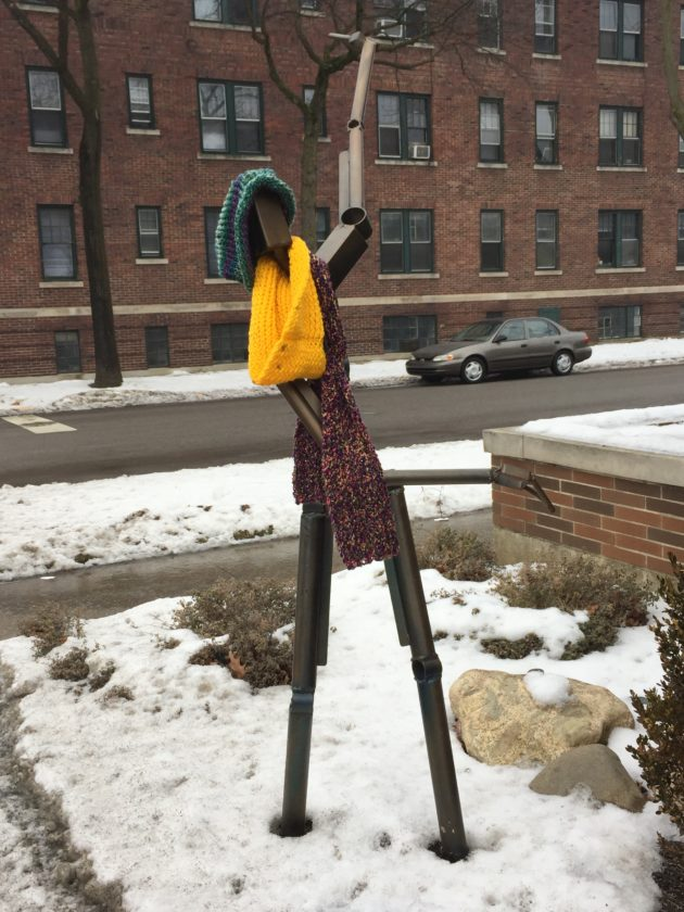 "The ""Welcome"" statue outside Angel Corps, 528 W. Washington Blvd., found it a bit nippy Tuesday morning. Temperatures will be warming up but the statue, a bike rack that was part of the citywide IPFW Sculpture with a Purpose project, might need a parka this weekend when temperatures dip below freezing again. (Photo by Lisa M. Esquivel Long of News-Sentinel.com)"
