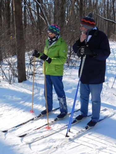 Though retirees Pam and Doug Barcalow have undertaken various adventures such as kayaking in the Atlantic Ocean, they had never tried cross country skiing before participating in a Jan. 6 clinic at Fox Island.   (By Tanya Caylor for The News-Sentinel)