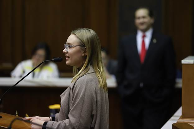 "Addison Agen of Fort Wayne was honored this morning at the Indiana House of Representatives for her runner-up finish on ""The Voice."" Addison also sang the national anthem in the House chambers. (Courtesy of Indiana House GOP)"