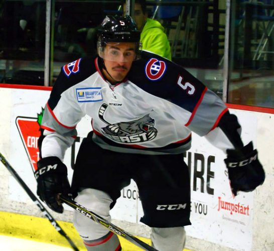 Fort Wayne's Jackson Leef playing with the Brampton Beast. (Photo courtesy of Robin Iwaskiw/Brampton Beast)