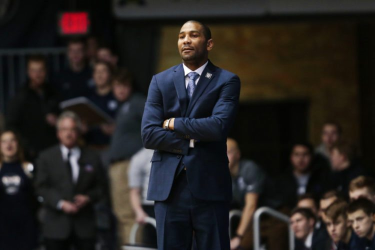 Butler men's basketball coach LaVall Jordan watches as his team play against Marquette during the first half of a game in Indianapolis Friday. Butler won 94-83. (By The Associated Press)