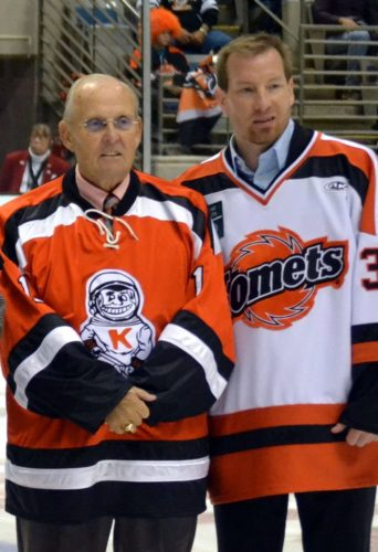 Chuck Adamson, left, and Nick Boucher on the night their numbers were added to the Komets' retired banners in 2013. (By Blake Sebring of News-Sentinel.com)