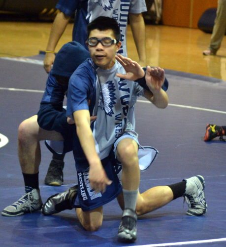 Woodlan junior wrestler Mitch Hoot continually fights to overcome his disadvantages. (By Blake Sebring of News-Sentinel.com)