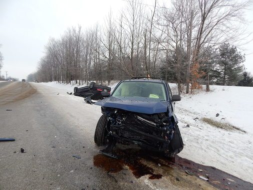 Two drivers suffered minor injuries in a collision Wednesday morning at Tonkel and Vandolah roads. (Photo courtesy of Allen County Sheriff Department)