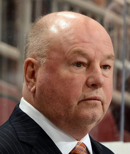 GLENDALE, AZ - NOVEMBER 25:  Head coach Bruce Boudreau of the Anaheim Ducks looks on from the bench against the Arizona Coyotes at Gila River Arena on November 25, 2015 in Glendale, Arizona.  (Photo by Norm Hall/NHLI via Getty Images)
