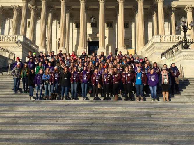 Fort Wayne students and chaperones, most of whom are from Concordia Lutheran High School, pose for a photo on the U.S. Capitol steps after arriving Thursday morning in Washington, D.C., to take part in the annual March for Life there on Friday. (Courtesy photo)