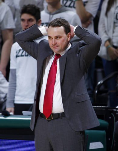 Indiana University men's basketball coach Archie Miller reacts during the second half of a game against Michigan State Friday in East Lansing. (By The Associated Press)