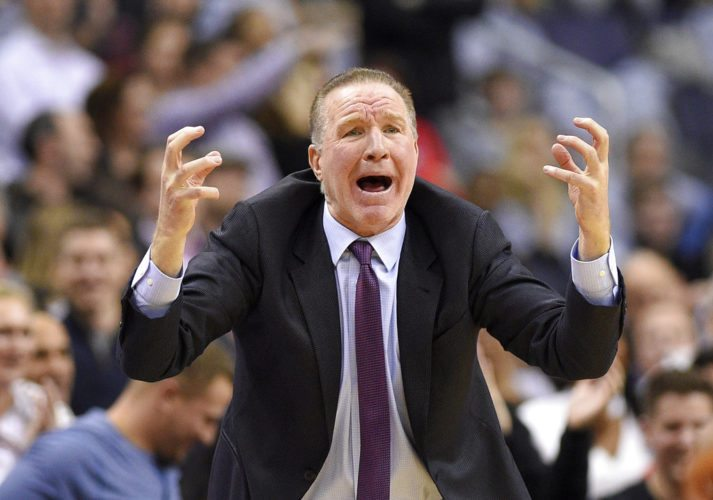St. John's men's basketball coach Chris Mullin reacts during the first overtime of a game against Georgetown Saturday in Washington. Georgetown won 93-89 in double overtime. (By The Associated Press)