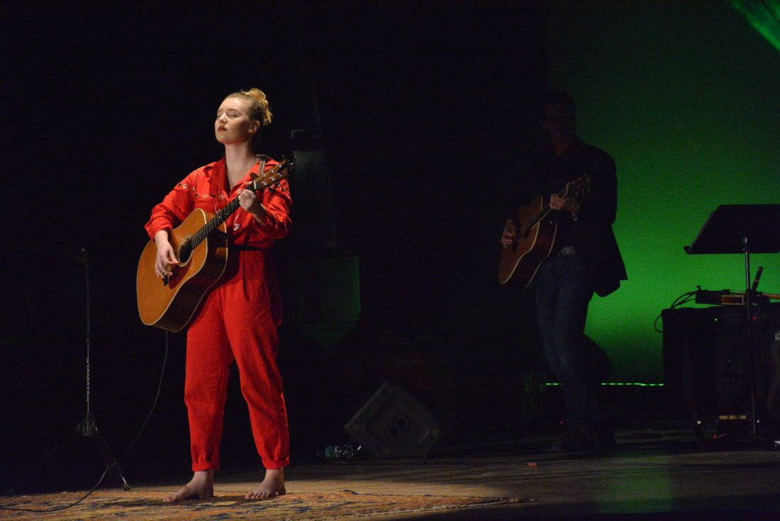 Addison Agen plays guitar at the first of her two Sunday evening concerts at Embassy Theatre.  (Photo by Lisa M. Esquivel Long of News-Sentinel.com)