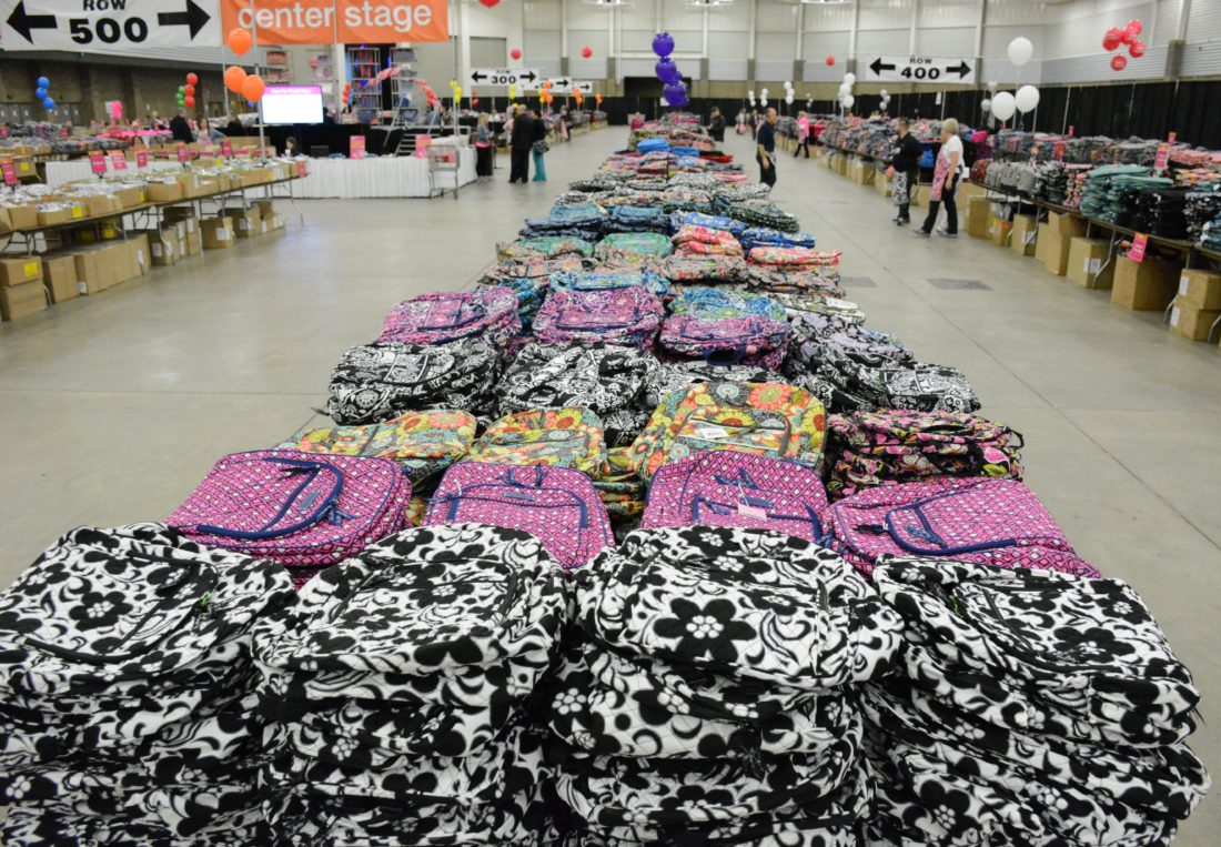 Vera Bradley handbags and other items again will await shoppers at this year's Vera Bradley Sale on April 11-15 at Memorial Coliseum. Tickets for the first three days of the sale on available now. The final two days are free admission. (News-Sentinel.com file photo)