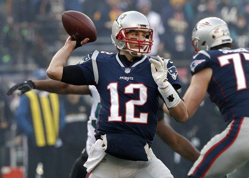 New England Patriots quarterback Tom Brady throws a pass against the Jacksonville Jaguars on Sunday in the AFC Championship game in Foxborough, Mass. (Photo by the Associated Press)