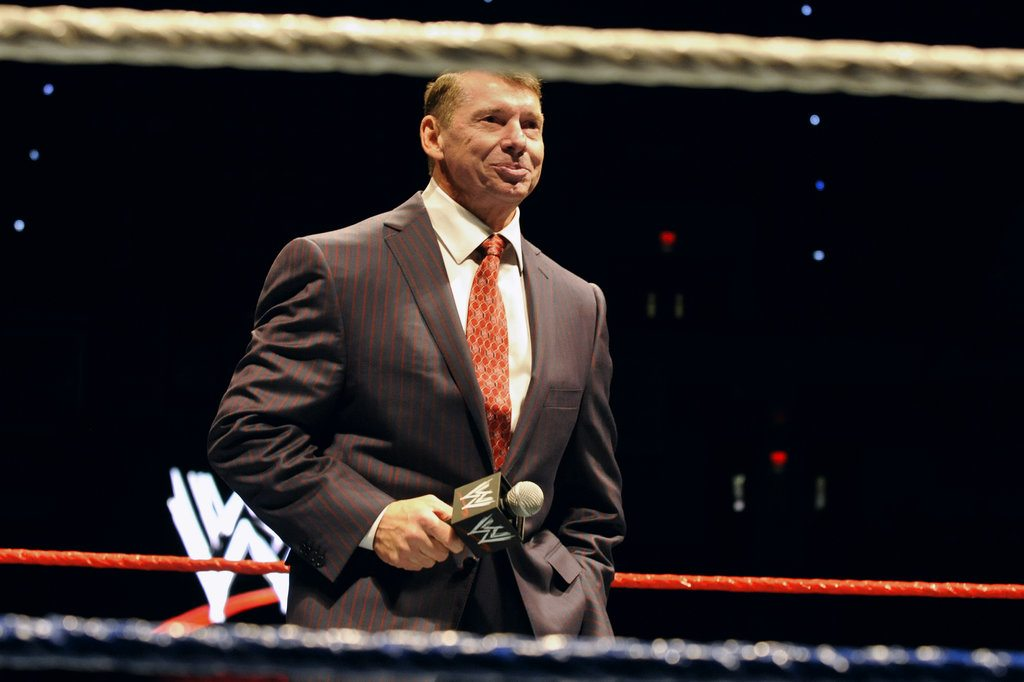 "FILE - In this Oct. 30, 2010 file photo, WWE chairman and CEO Vince McMahon speaks to an audience during a WWE fan appreciation event in Hartford, Conn.   WWE's 'Raw' set out to be a special kind of wrestling show from its birth on Jan. 11, 1993. ""Welcome everyone, to Monday Night Raw!"" McMahon bellowed. ""We are live from New York City!"" The WWE will celebrate the 25th anniversary of ""Raw"" on Jan. 22, 2018 at its original home of the Manhattan Center with some of the biggest stars in the company's history stopping by for a fight. (AP Photo/Jessica Hill, File)"