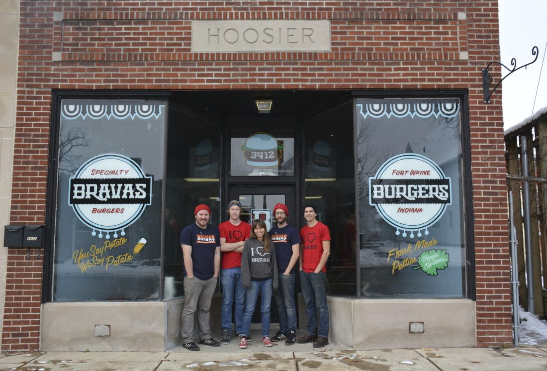 The Bravas team, from left, Zach Croy, Ted Doak, Becky Gonzalez, Bo Gonzalez and Mark Crawford, stands outside Bravas Burgers in 2015 when it opened at 3412 Fairfield Ave. (News-Sentinel.com file photo)
