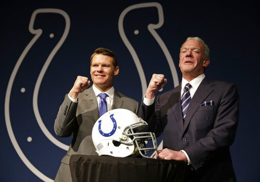 In this Jan. 30, 2017, file photo Indianapolis Colts Owner Jim Irsay, right, and new general manager Chris Ballard pose following a news conference at the NFL football team's practice facility in Indianapolis. (Associated Press file photo)