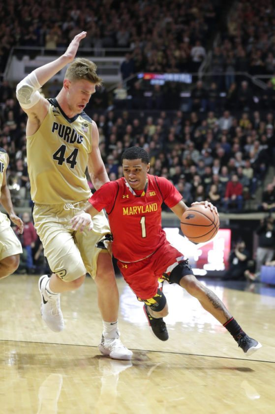 Maryland guard Anthony Cowan (1) drives under Purdue center Isaac Haas (44) in the first half of a game in West Lafayette Wednesday. (By The Associated Press)