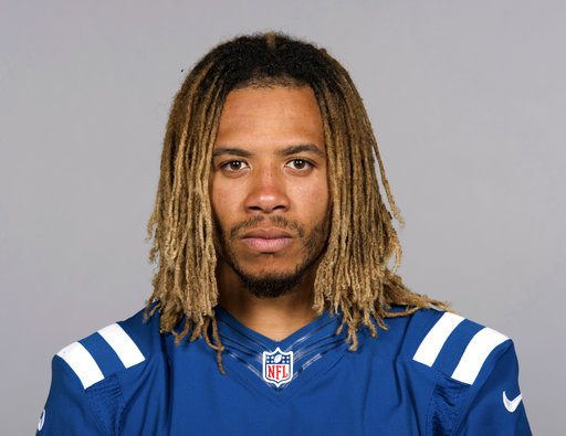 This June 13, 2017 file photo shows Indianapolis Colts football player Edwin Jackson.  Jackson, 26, was one of two men killed when a suspected drunken driver struck them as they stood outside their car along a highway in Indianapolis. (Photo by the Associated Press)