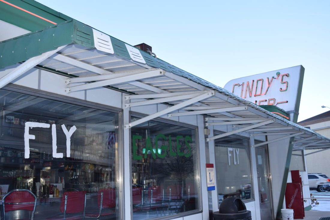 Fly Eagles Fly has been painted on the front of Cindy's Diner,  230 W Berry St. The Eagles flew to a Super Bowl LII win Sunday against the New England Patriots, 41-33. (Photo by Lisa M. Esquivel Long of News-Sentinel.com)