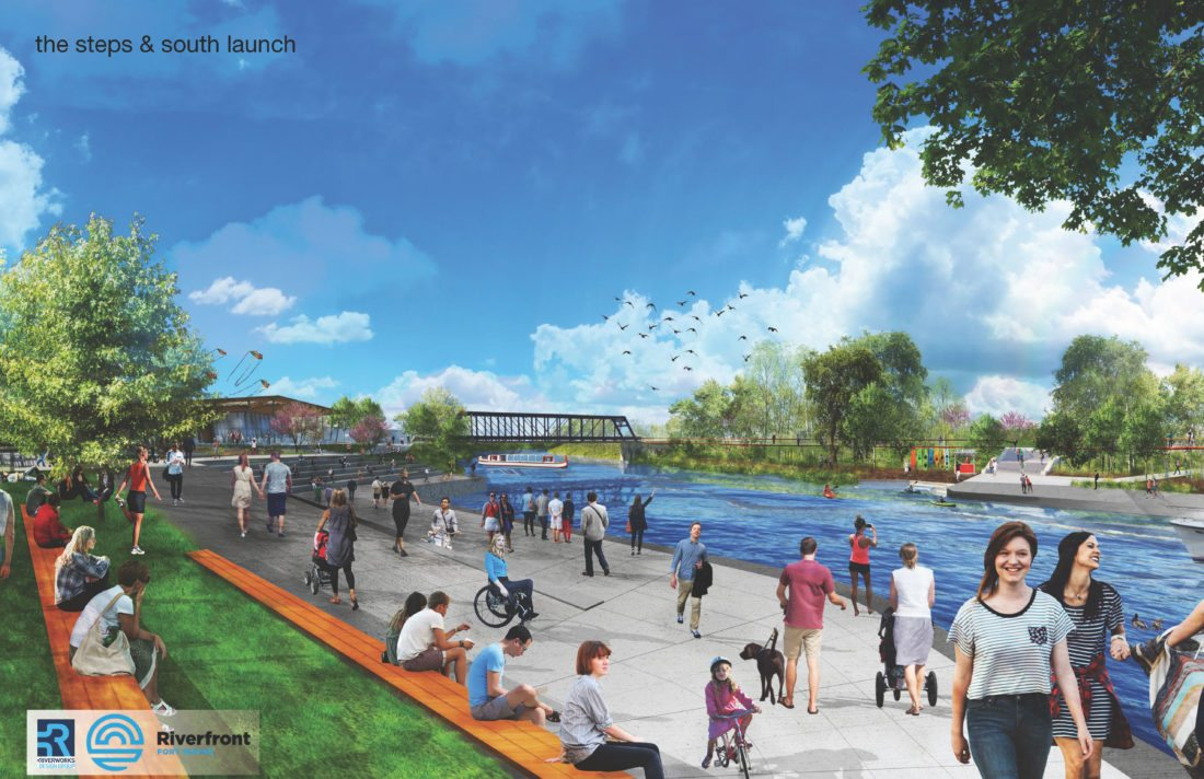 Promenade Park, which is under construction now along the St. Marys River in  downtown Fort Wayne, will include a walkway along the river. The city of Fort Wayne is seeking a qualified consultant to assist with developing Phases II and III of downtown riverfront development. (Courtesy illustration)