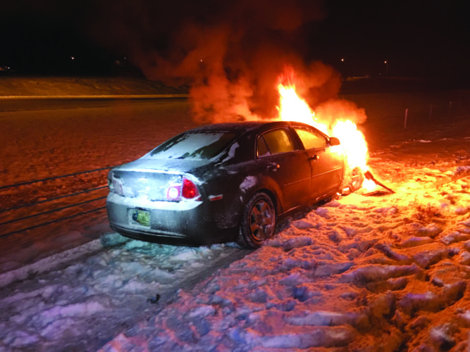 An unmanned vehicle caught fire on I-69 south early this morning. (Courtesy photo)