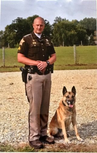 Rex, a Kosciusko County Sheriff's Department K-9 seen with his handler, Sgt. Travis Shively, was retired Monday. (Photo courtesy of the Kosciusko County Sheriff's Department)