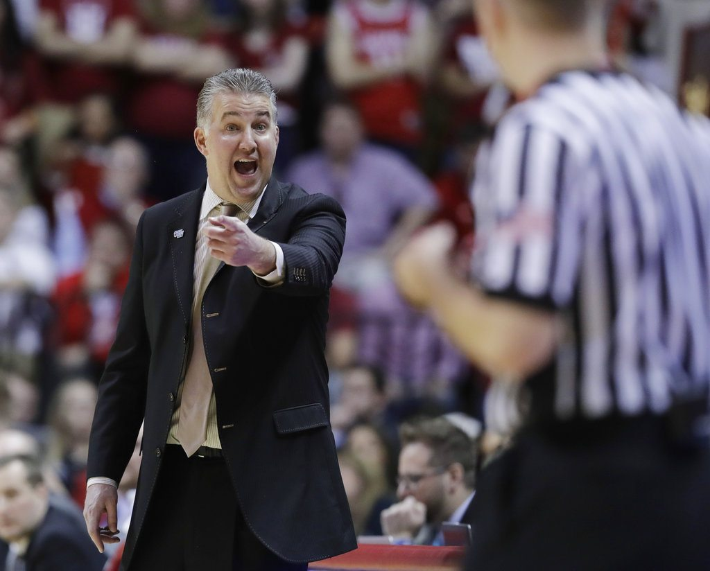 Purdue men's basketball coach Matt Painter argues a call during the second half of a game against Indiana recently in Bloomington. (By The Associated Press)