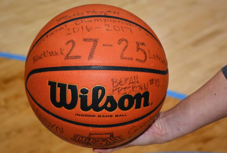 This basketball from last year's sectional served as motivation for the Lakewood Park girls basketball team, which won its first sectional title last weekend. (Photo by Reggie Hayes of news-sentinel.com)