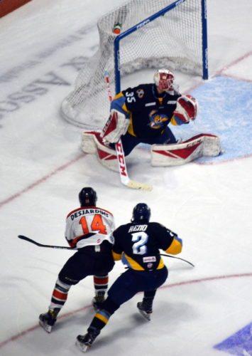 Komets forward Gabriel Desjardins has scored five goals in the last two games. (By Blake Sebring of News-Sentinel.com)