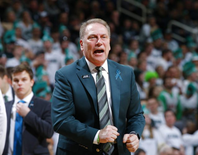 Michigan State men's basketball coach Tom Izzo reacts against Purdue during the first half of a game Saturday in East Lansing, Mich. Michigan State won 68-65. (By The Associated Press)