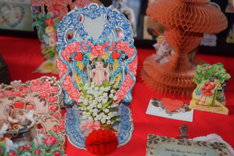This stand-up valentine with a honeycomb portion on the bottom is part of Judy Bozarth's collection. (Photo by Lisa M. Esquivel Long of News-Sentinel.com)