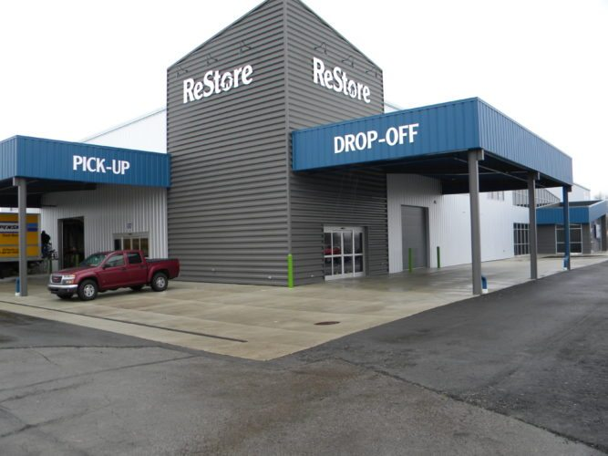 Fort Wayne Habitat for Humanity's new ReStore location at 4747 Lima Road has canopies over the drop-off and pick-up doors to make it easier for shoppers and donors. (By Kevin Kilbane of News-Sentinel.com)