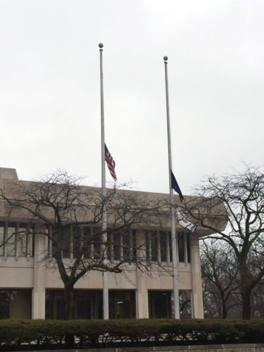The U.S. flag flew at half staff today outside the Rousseau Centre building in downtown Fort Wayne and at other local government buildings in memory of those killed and injured in the mass shooting Wednesday at Marjory Stoneman Douglas High School in Parkland, Fla. (By Lisa M. Esquivel Long of News-Sentinel.com)