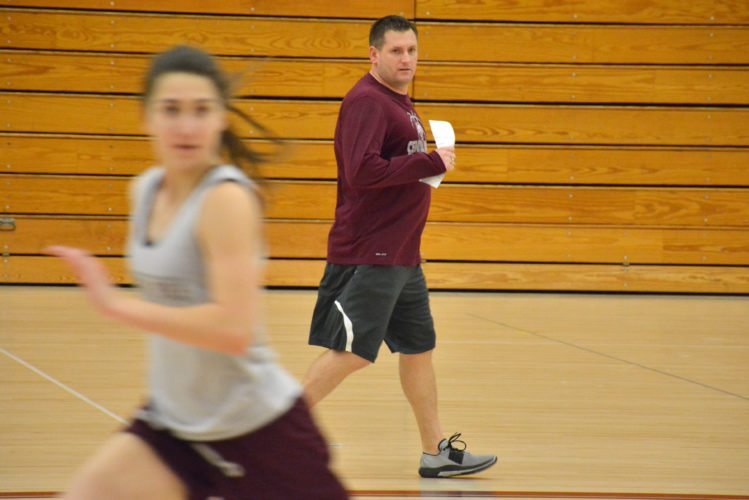 Central Noble girls basketball coach Josh Treesh yells out instructions during a practice earlier this week. (Photo by Dan Vance of news-sentinel.com)