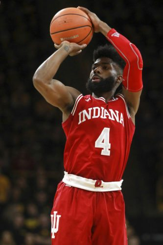 Indiana's Robert Johnson takes a shot during a game against Iowa Saturday in Iowa City, Iowa. (By The Associated Press)