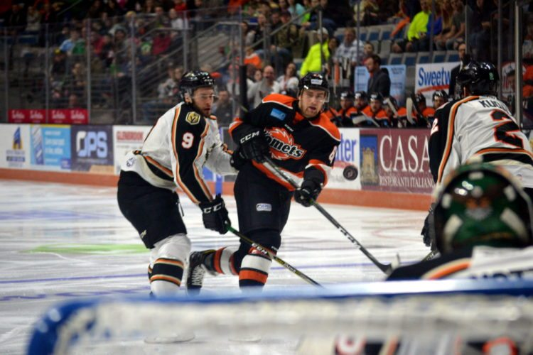 Komets forward Zac Larazza launches an early shot against Quad City last Saturday. (By Blake Sebring of News-Sentinel.com)