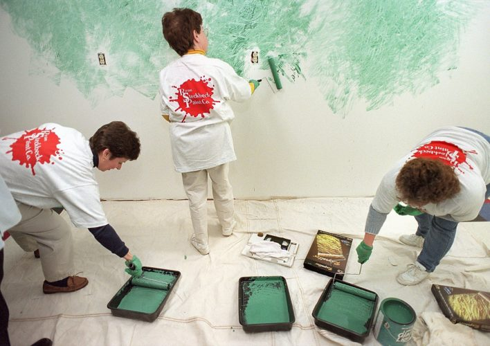 1998 - Lois Smith, left, Mary Pepoy and Lois Smith get to work at the faux finsih workshop at Ream Steckbeck Paint Company. Class participants were given the opportunity to use rag rollers to create a painted texture.