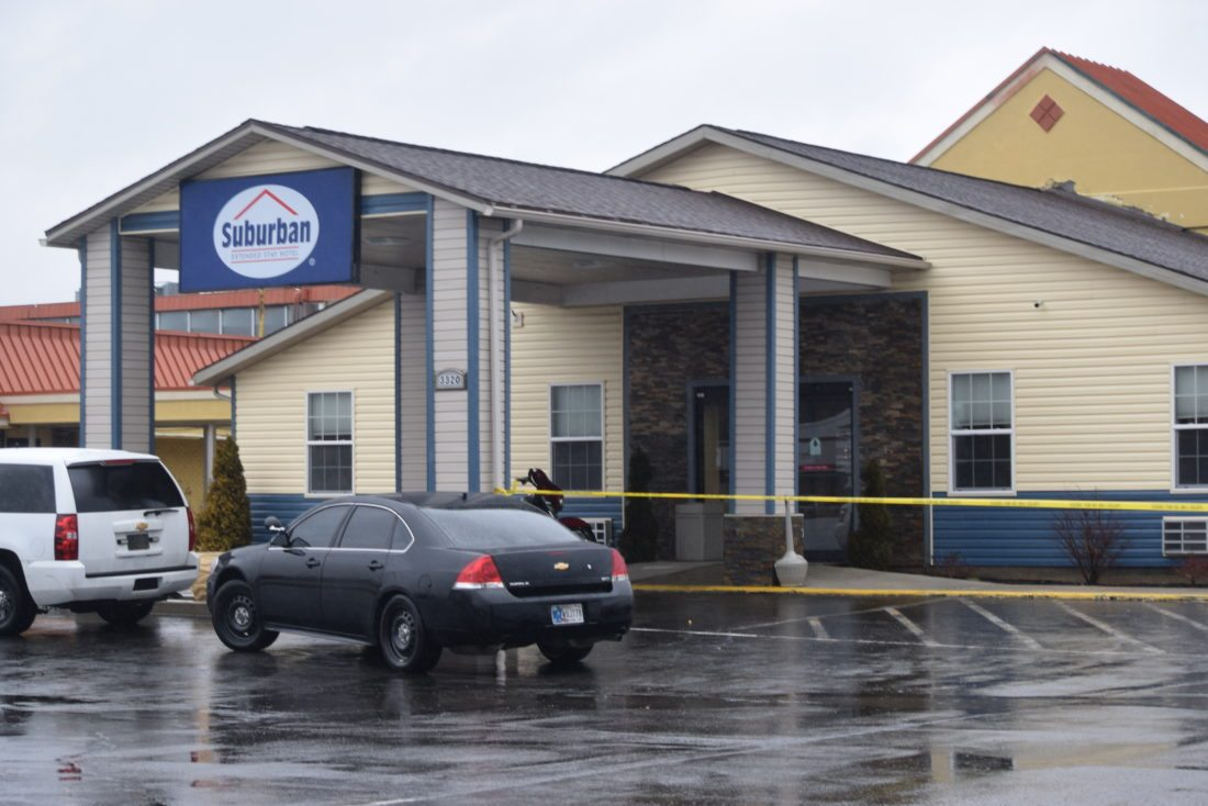 Fort Wayne Police were called  just before 2 p.m. Monday after someone discovered a man dead in a vehicle at the Suburban Extended Stay Hotel, 3330 Coliseum Blvd. (Photo by Lisa M. Esquivel Long of News-Sentinel.com)