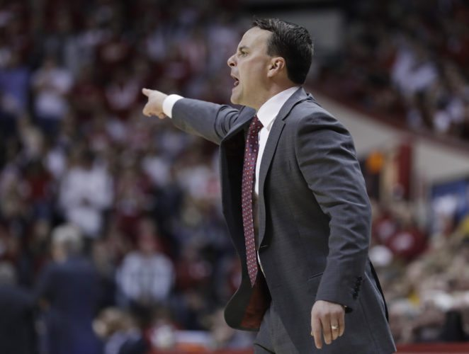 Indiana University men's basketball coach Archie Miller shouts at his players during the second half of a game against Iowa earlier this season in Bloomington. (By The Associated Press)