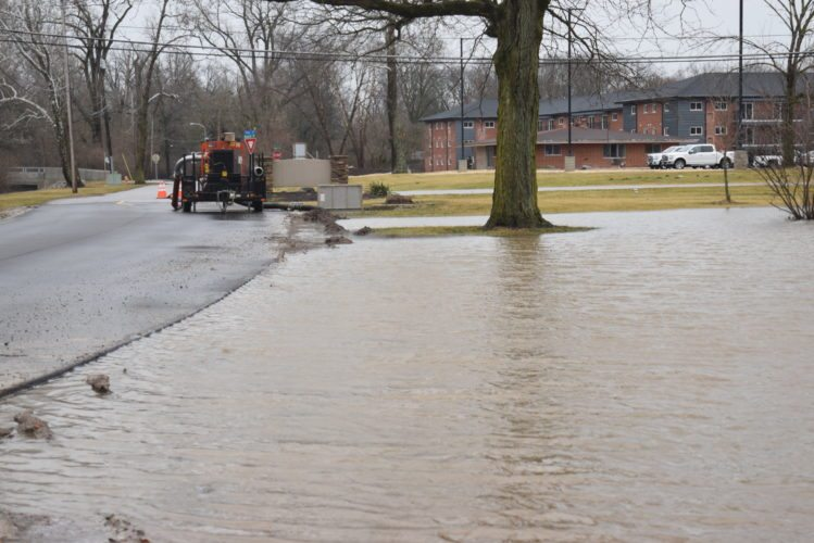 The city of Fort Wayne has put out pumps, including this one in Vesey Park, to control street flooding. (Photo by Lisa M. Esquivel Long of News-Sentinel.com)