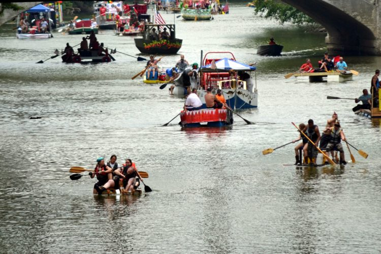 People packed the St. Marys River with an array of rafts for 2016's Three Rivers Festival Raft Race. (News-Sentinel.com file photo)