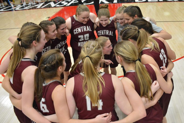 The Central Noble girls basketball team celebrates last Saturday after their semi state title win at Logansport over Frankton. (Photo by Dan Vance of news-sentinel.com)