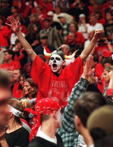 1995 - Huntington North senior Eric Rice celebrates after theVikings won their second Girl's Basketball State Championship, in a victory over Carmel Saturday night at Market Square Arena.