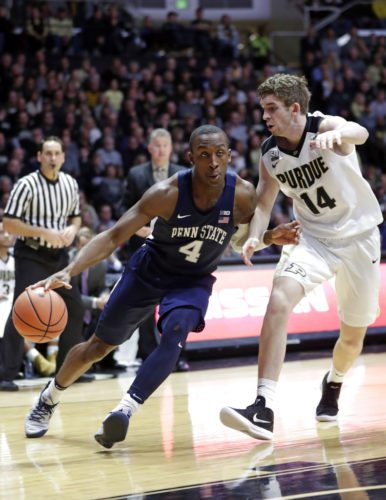 Penn State guard Nazeer Bostick (4) drives on Purdue guard Ryan Cline (14) in the first half of a recent game in West Lafayette. (By The Associated Press)