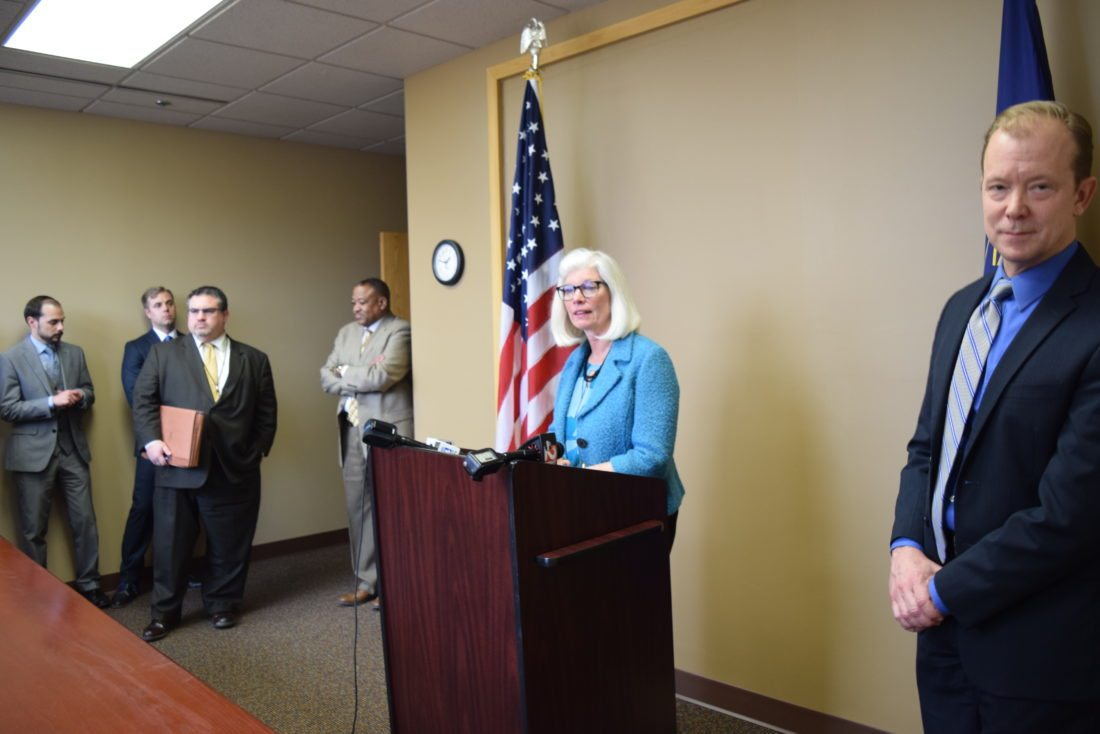 Allen County Prosecutor Karen Richards addresses reporters after members of a victims rights group demanded her resignation earlier Thursday. Richards, a Republican, said she will not run from a fight and will stand for re-election in November. (Photo by Lisa M. Esquivel-Long of The News-Sentinel.com)