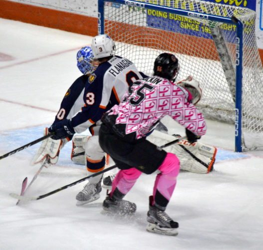 Komets defenseman Ryan Culkins hits the post with a third-period shot Friday night against Greenville. (By Blake Sebring of News-Sentinel.com)