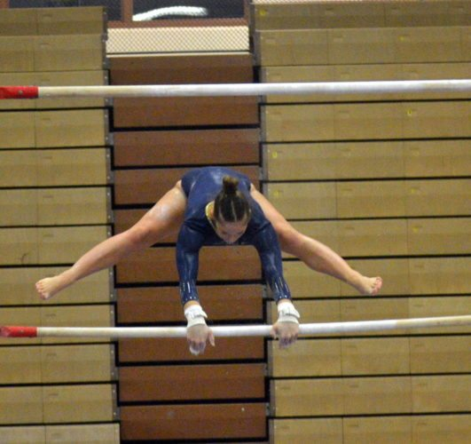Bishop Dwenger senior Sophia Wright-Turflinger scored a 37.650 to win the all-around title at Saturday's Concordia Sectional. (By Blake Sebring of News-Sentinel.com)