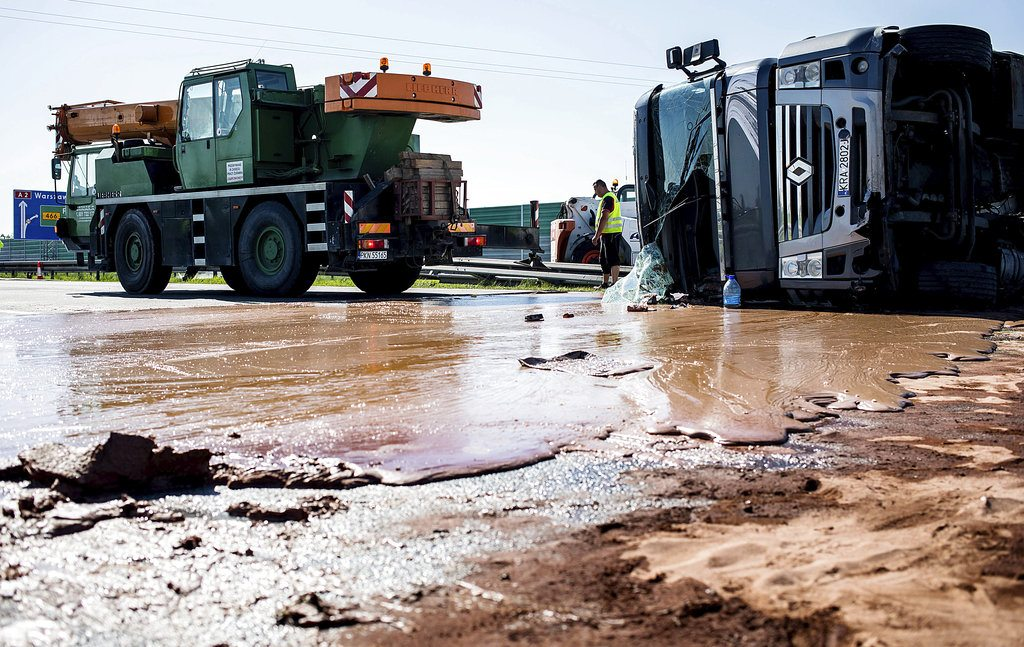 A sticky situation: 12 tons of liquid chocolate spills onto Polish highway