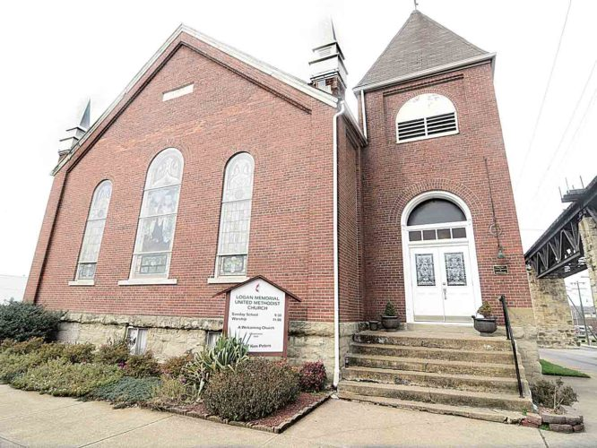 Photo by Jeff Baughan Logan Memorial United Methodist Church will mark the congregation's 150th anniversary with a special service from 6-8 p.m. Sunday at the church at Sixth and Ann streets in Parkersburg.