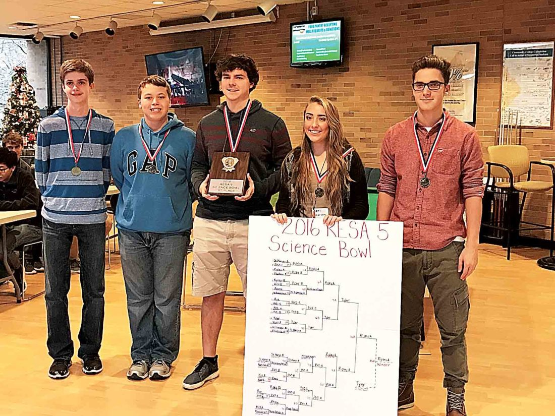 The Ripley High School A Team won the annual Science Bowl hosted by RESA 5 and West Virginia University at Parkersburg. Members are Ryan Neil, Alex Lowe, Chris Neil, Alex Hill and Jeri Patterson. The coach is Barbara Heckert. Ripley and teams from Tyler Consolidated High School and Parkersburg High School, second and third place finishers, will compete in the state science bowl on Feb. 3-4 in Morgantown. (Photo Provided)